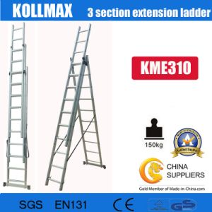 Aluminium 3 Section Extension High Quality Ladder 3X10 for En131 pictures & photos