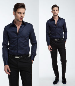 100% Cotton High Count Yarn Men′s Long Sleeve Dress Shirt pictures & photos