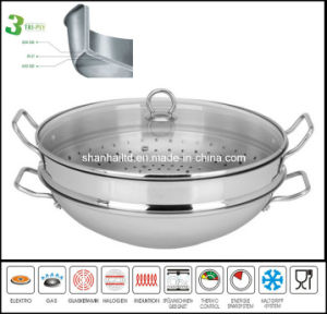 3ply Body Stainless Steel Wok with Steamer Cookware pictures & photos