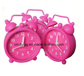 Multi-Color House Decoration Children Silicone Mini Alarm Clock Twin Bell Clock pictures & photos