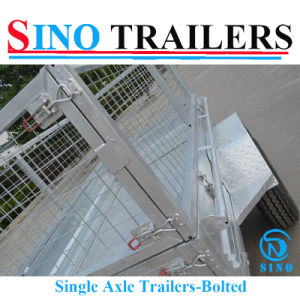 Autralian Farming Flat Steel Sides Single Axle Cage Trailers pictures & photos
