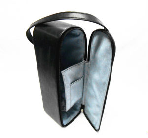 Soft Black Leather Wine Carrying Case pictures & photos