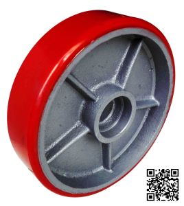 8 Inch Red PU on Iron Caster Wheel (wheel only) pictures & photos