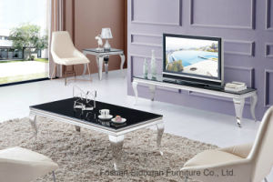 Modern Living Room European Stylish Black Glass Center Tea Table pictures & photos