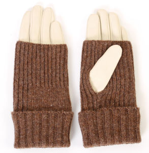 Lady Fashion Sheepskin Leather Warm Gloves with Acrylic Cover (YKY5154) pictures & photos
