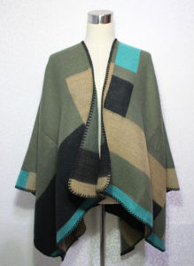 Lady Fashion Acrylic Knitted Color Blocking Winter Warm Shawl (YKY4495) pictures & photos