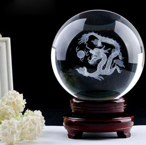 Feng Shui Magic Crystal Ball Crystal Sphere with Wooden Base pictures & photos
