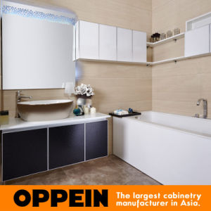 Oppein Black and White Antique Pattern Bathroom Vanity (OP14-013) pictures & photos