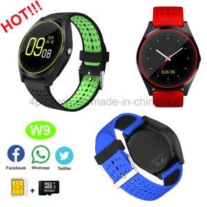 Multilanguage Smart Watch with Camera and SIM Card Slot W9 pictures & photos