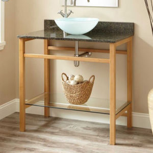 Bamboo Bathroom Cabinet with Single Sink pictures & photos