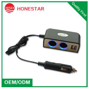 2015 New 2 Port Socket Car Cigarette Lighter USB Hub Adaptor Power Socket for Mobiles MP3 pictures & photos