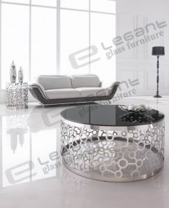 2015 Glass Coffee Table with Carved Stainless Steel Base pictures & photos