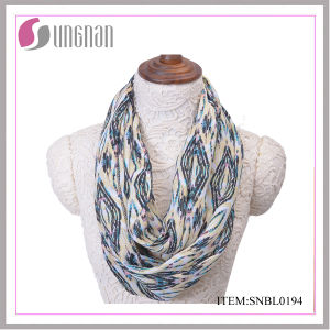 2016 Casual Women Quilting Pattern Polyester Infinity Scarf pictures & photos