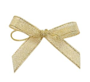 Small Gold Metallic Christmas Tree Bows with Elastic Loop pictures & photos
