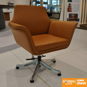 Office Furniture Half Leather Center Tilting Mechanism MID-Back Five Star Base Office Chair