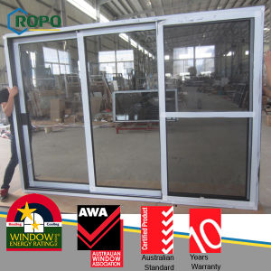3 Panels UPVC Frame Sliding Glass Door with Double Glazing pictures & photos