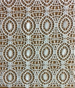 Vintate White Polyester Guipure Lace Fabric for Apparels Accessories