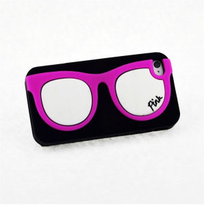 Pink Frame Glasses White Lens Silicone Phone Case for iPhone 6 Plus (XSP-003) pictures & photos