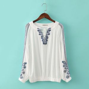OEM High Quality Plus Size Fashion Ladies Embroideried Blouse pictures & photos