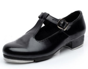 Women′s and Girl′s Black Leather Tap Shoes pictures & photos