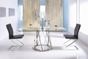 Glass Stainless Steel Dining Room Table Modern Dining Sets pictures & photos