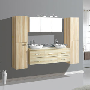 MDF Wall Hung Bathroom Vanity with Double Ceramic Basin pictures & photos