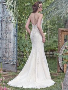Strapless Beaded Bridal Gown Lace Applique Mermaid Wedding Dress M201710 pictures & photos