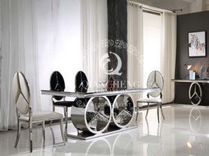 Modern Design Dining Table with Tempered Black Glass Top pictures & photos