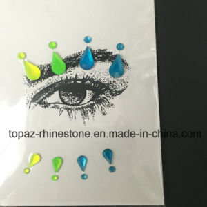 Popular Decorative Skin Stickers DIY Beauty Eye Acrylic Flower Rhinestone Sticker (TS-570) pictures & photos