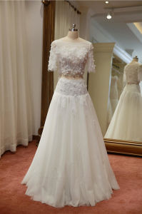 2 Pieces Bridal Ball Gown Lace Tulle Wedding Dress 2018 Lb1726 pictures & photos