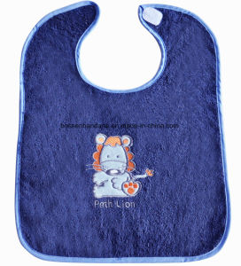 China Factory Produce Custom Logo Embroidered Knit Cotton Terry Pink Baby Drooler Bib pictures & photos