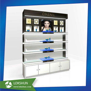 Floor Design Unique Wood and Acrylic Display Rack with Shelves, MDF Display Stand Flooring pictures & photos