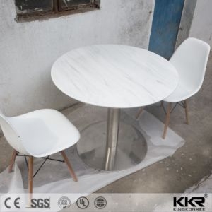 Customized Pure White Round Solid Surface Dining Table and Chairs pictures & photos