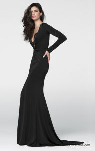 Spandex Lace Party Prom Gowns Black Split Evening Dress P97056 pictures & photos