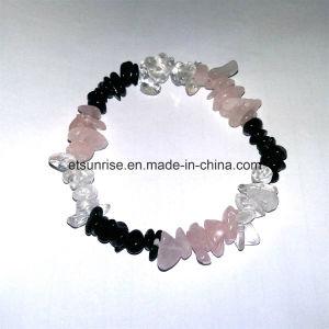 Natural Black Tourmaline Crystal Rose Quartz Chips Bracelet pictures & photos