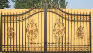 Hand-Crafted Elegant Design Wrought Iron Double Swing Gates pictures & photos