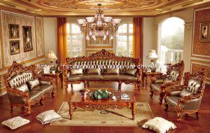 French Classical Italian Teak Wood Leather Sofa Set (TH533)