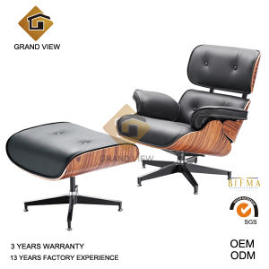 Black Leather Dark Walnut Wood Classical Eames Lounge Chair (GV-EA670) pictures & photos