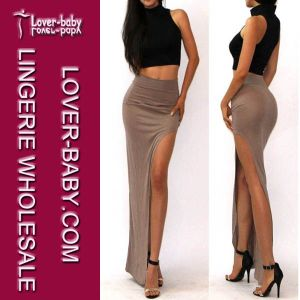 2015 Brown Slit Split High Wasit Dress Lady Skirt (L396-3) pictures & photos