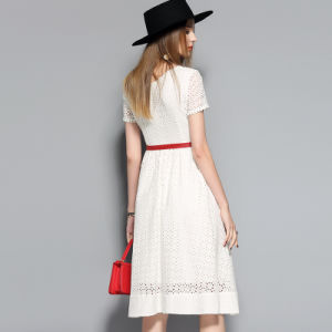 White Hollow Short Sleeve Cotton Women Dress with Red Belt pictures & photos
