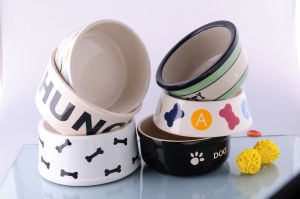 Ceramic Pet Bowl with Customized Printing (CZJM7069)