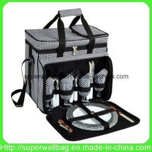 Equipped Insulated Picnic Bag Cooler Bags with Service for 4 Person