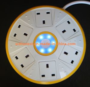 New Arrivals UFO Shape Universal Power Extension Socket with 6 Way Jack and 2 USB pictures & photos