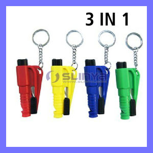 Promotion Gift 3 in 1 Mini Portable Keychain Car Opening Tools Windw Broken Rescue Emergency Hammer Knife Whistle (PG-616) pictures & photos
