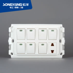 New Electric Switch White Series 7gang+1socket Wall Socket pictures & photos