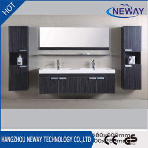 Simple Design Melamine Double Sink Wall Mounted Bathroom Cabinet pictures & photos