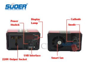 Suoer Power Inverter 1000W Modified Sine Wave Power Inverter 24V to 220V for House Use (SQA-1000B) pictures & photos