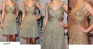 Wide V-Neck Fully Sequinned Chiffon Cocktail Short Dress, Evening Dress, Party Dress (AS3378)