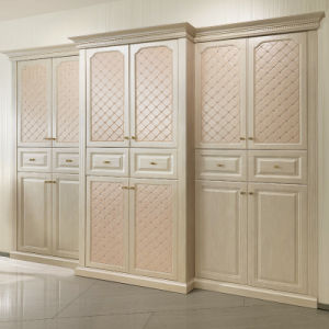 European Style PU Leather Hinged Wardrobe (OP-YG21129) pictures & photos