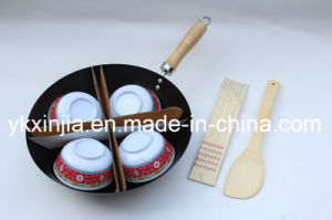 Kitchenware Carbon Steel Wok Set with Chopsticks Bowls Spatula pictures & photos